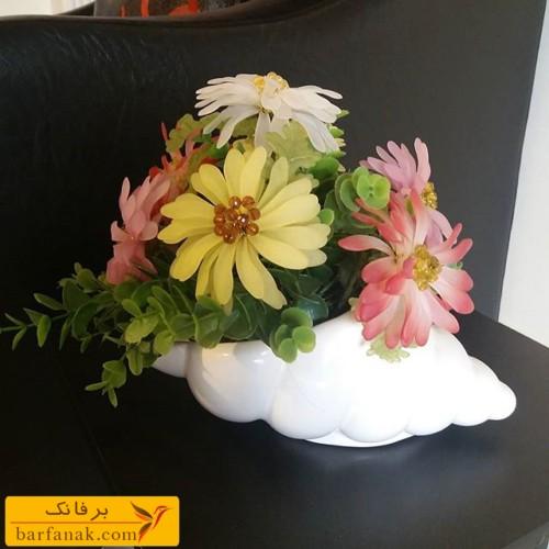 گل کریستال با گلهای رنگارنگ