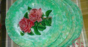 آموزش تصویری دکوپاژ روی بشقاب شیشه ای
